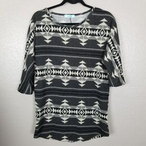 Karlie Tribal/Aztec 3/4 Sleeve Scoop Neck Sweater